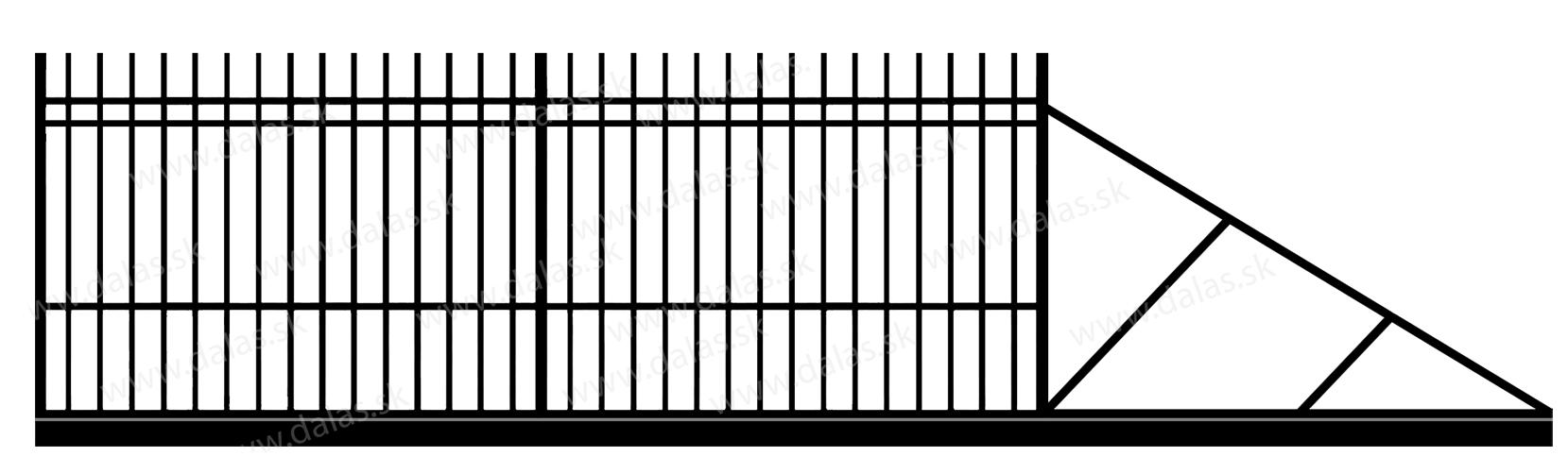 Samonosná posuvná kovová brána E2