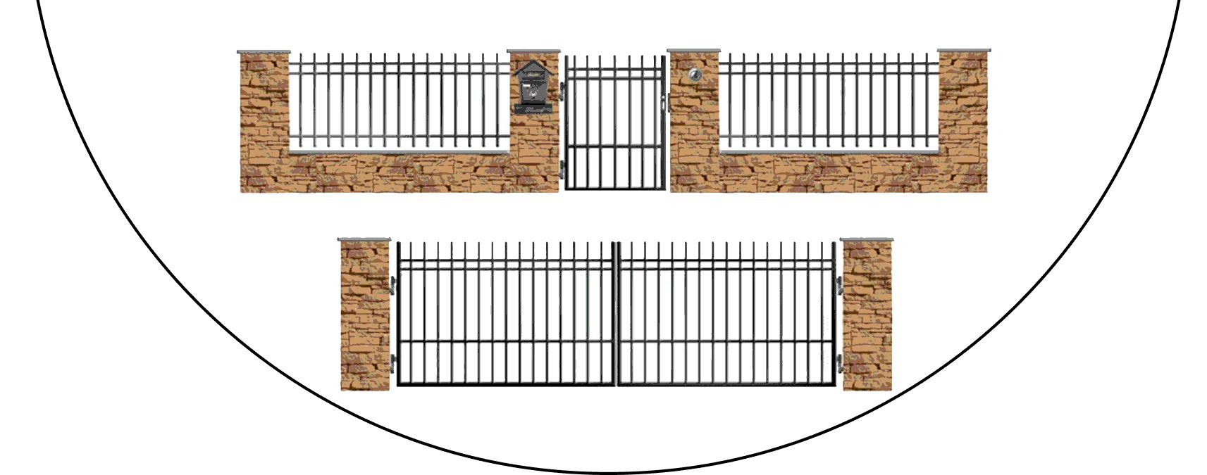 Zostava kovových plotov E2