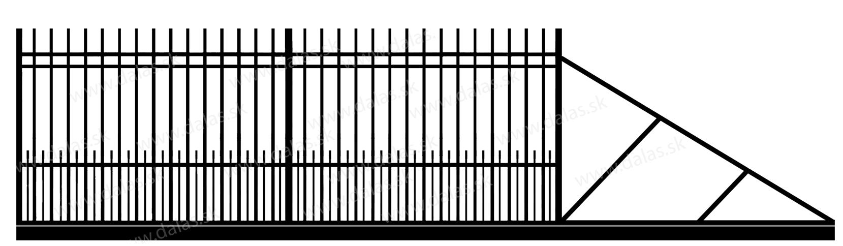 Samonosná posuvná kovová brána E2+