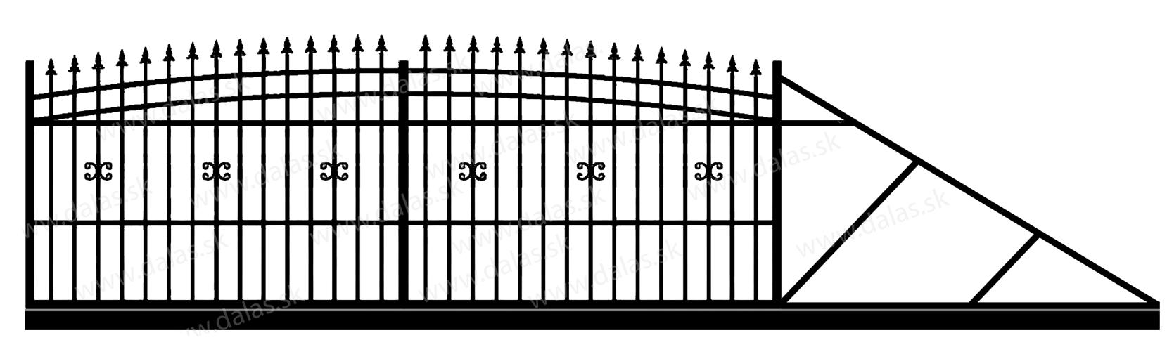 Samonosná posuvná kovová brána J1