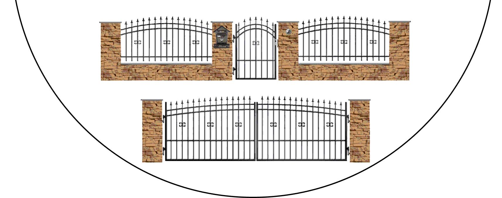 Zostava kovových plotov J1