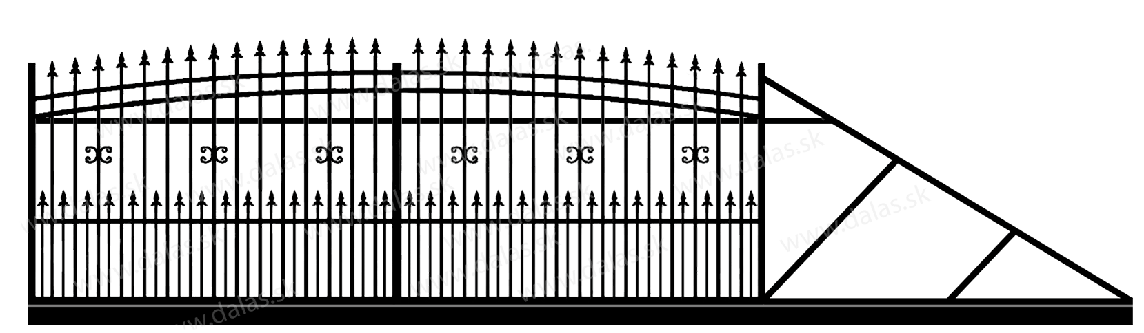 Samonosná posuvná kovová brána J1+