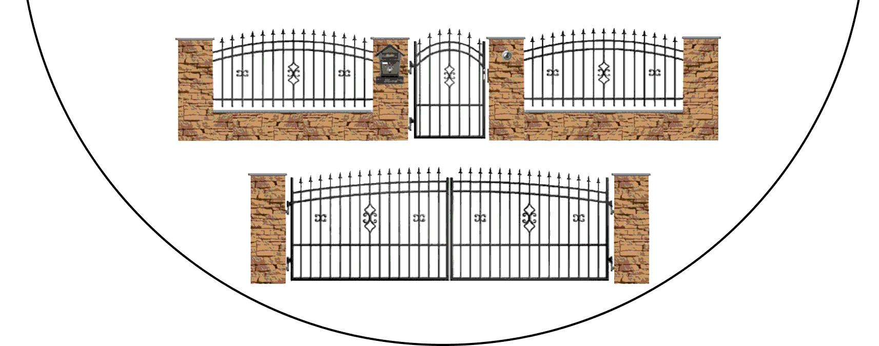 Zostava kovových plotov J2