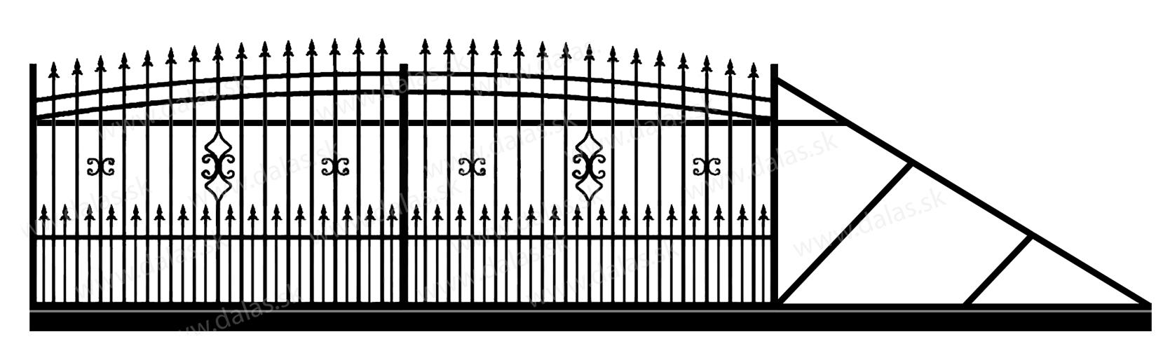 Samonosná posuvná kovová brána J2+