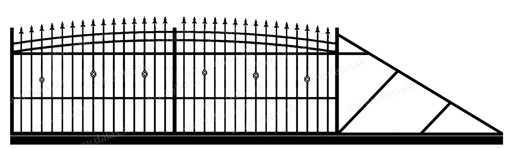 Samonosná posuvná kovová brána J3