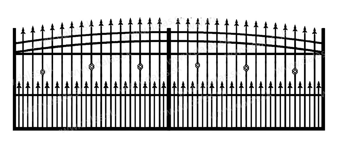 Koľajová kovová brána J3+