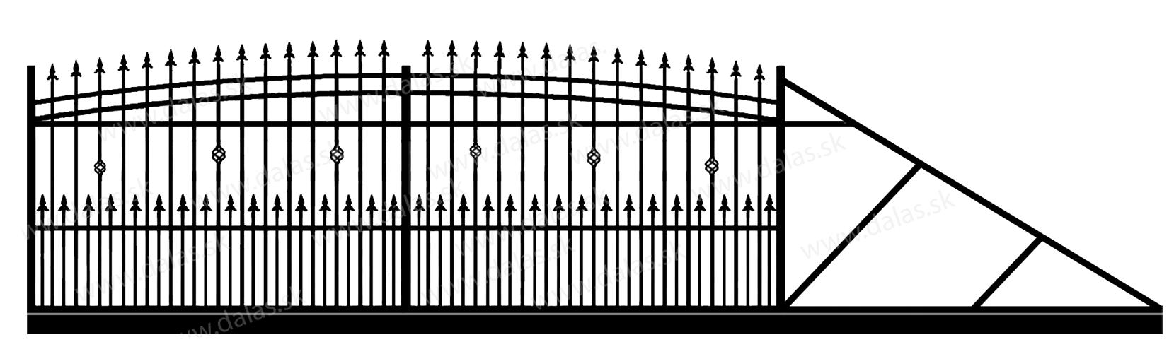 Samonosná posuvná kovová brána J3+
