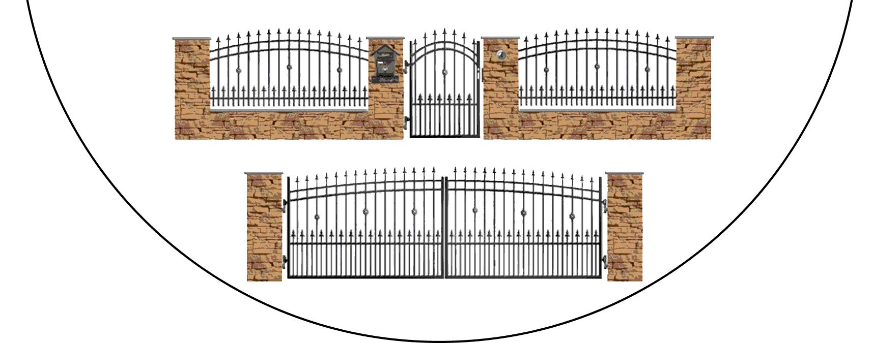 Zostava kovových plotov J3+