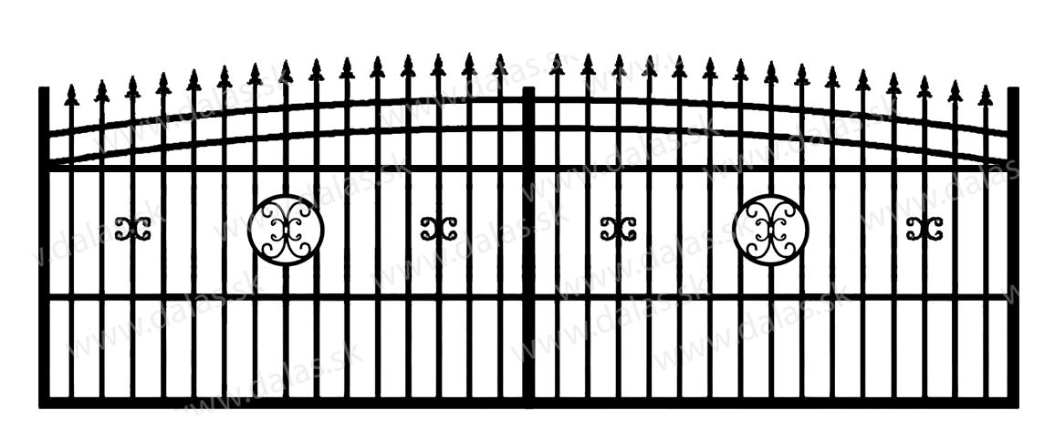 Koľajová kovová brána J4