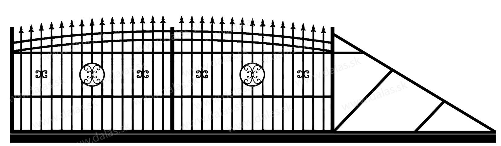 Samonosná posuvná kovová brána J4