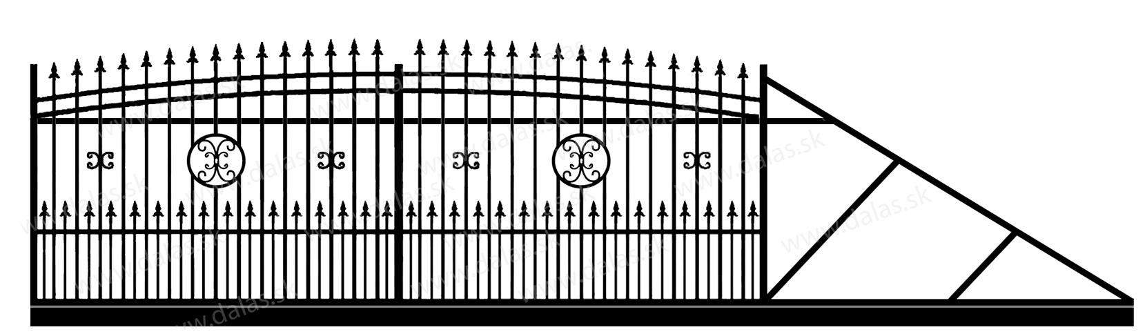 Samonosná posuvná kovová brána J4+