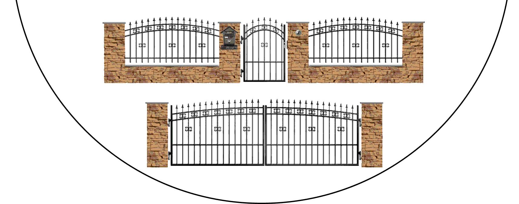 Zostava kovových plotov K1