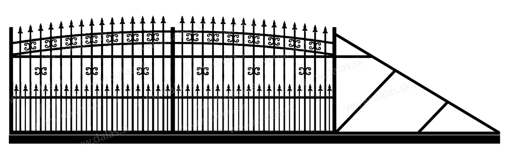 Samonosná posuvná kovová brána K1+