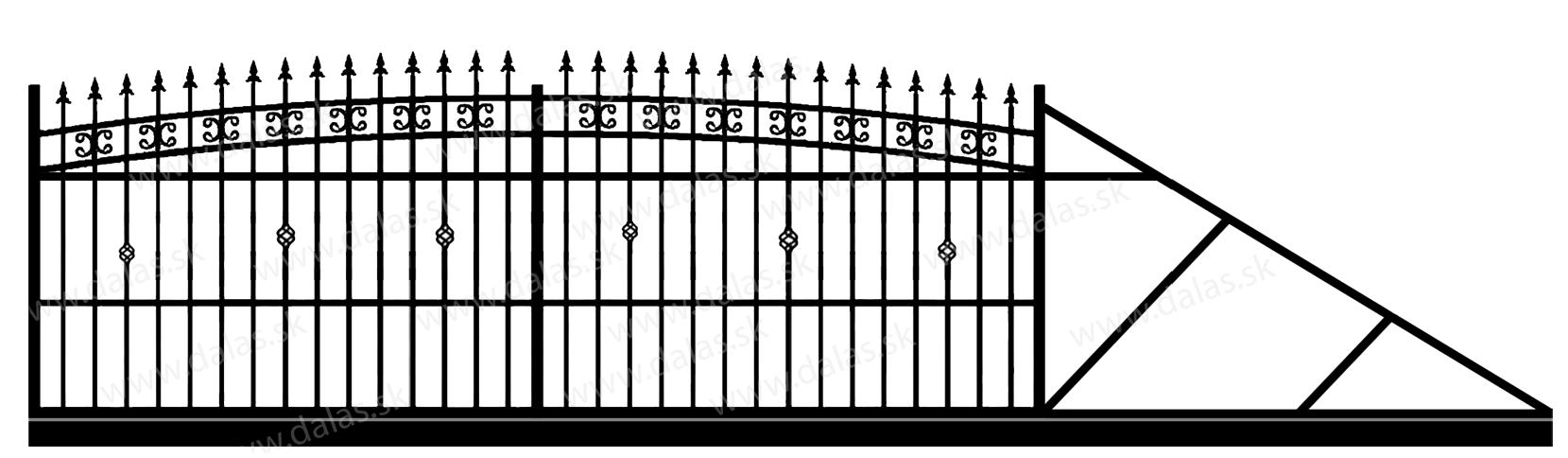 Samonosná posuvná kovová brána K3