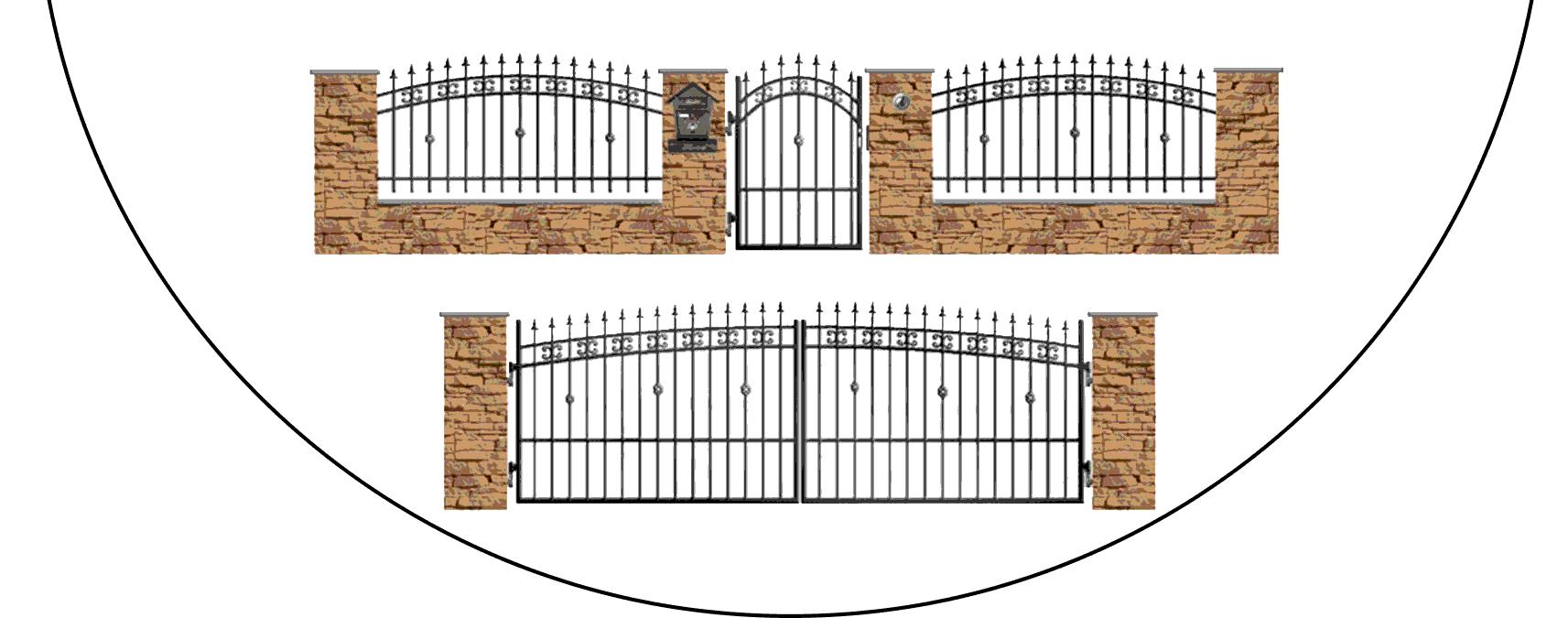 Zostava kovových plotov K3