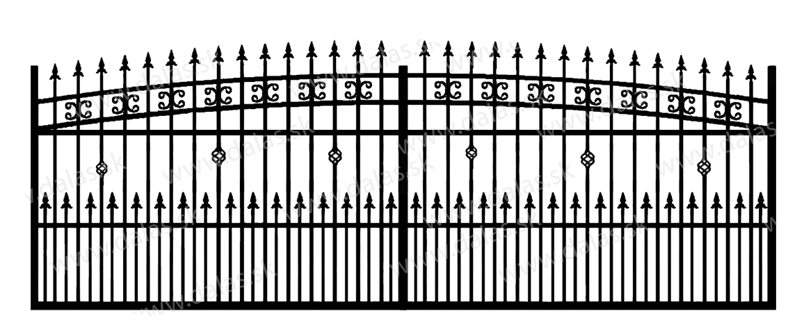 Koľajová kovová brána K3+