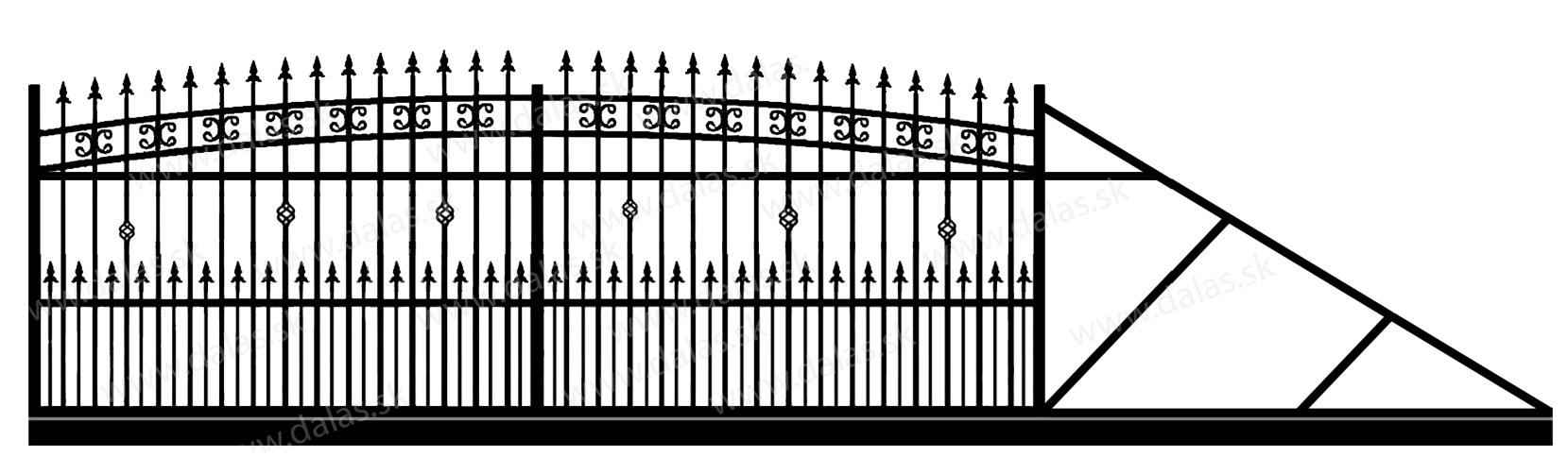 Samonosná posuvná kovová brána K3+