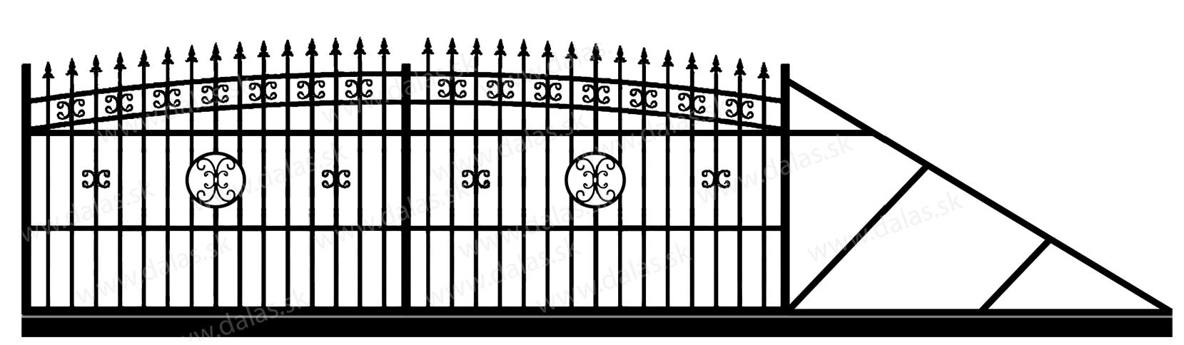 Samonosná posuvná kovová brána K4