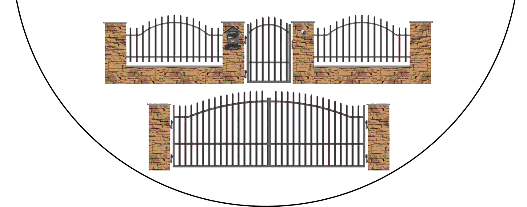 Zostava kovových plotov V