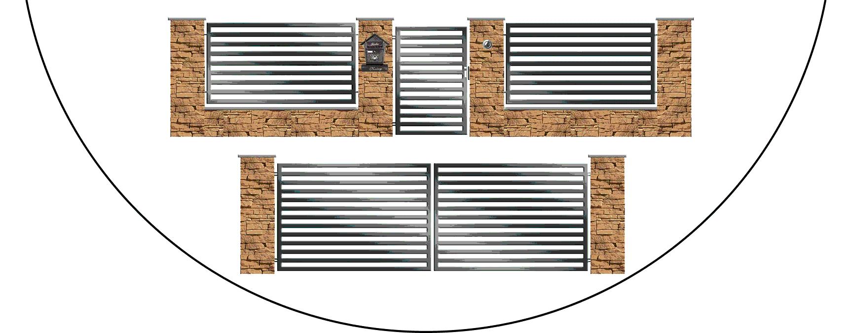 Zostava kovových plotov - moderná plochá