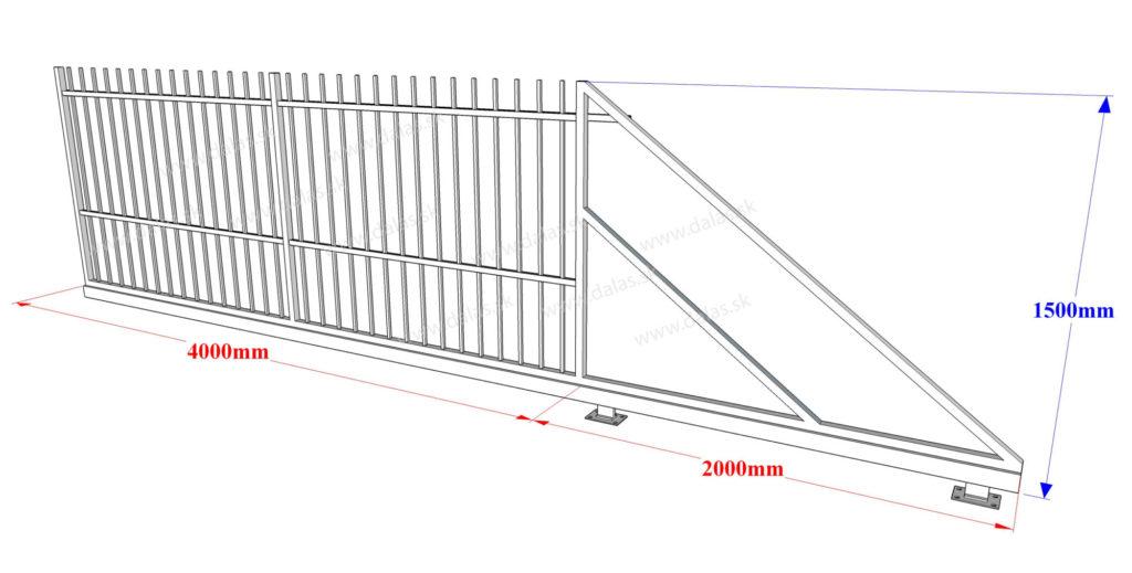 Rozmery kovaná samonosná brána