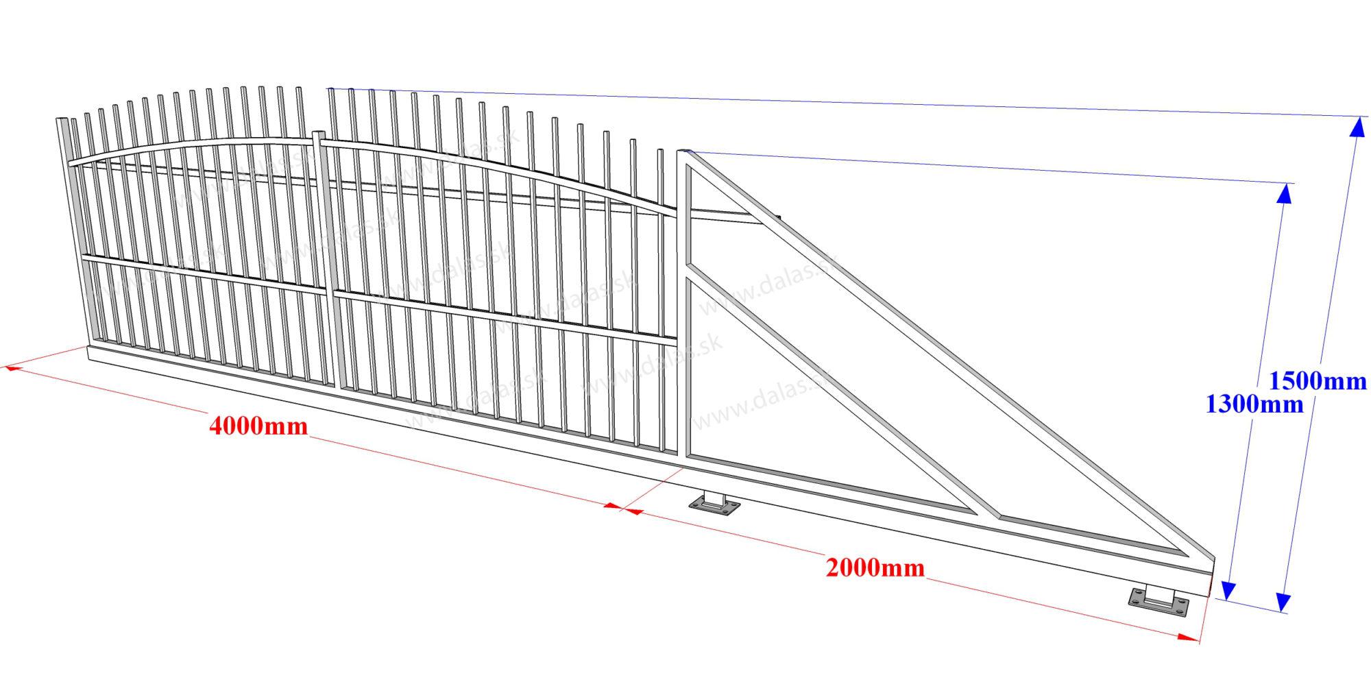 Rozmery kovaná samonosná brána - oblúková