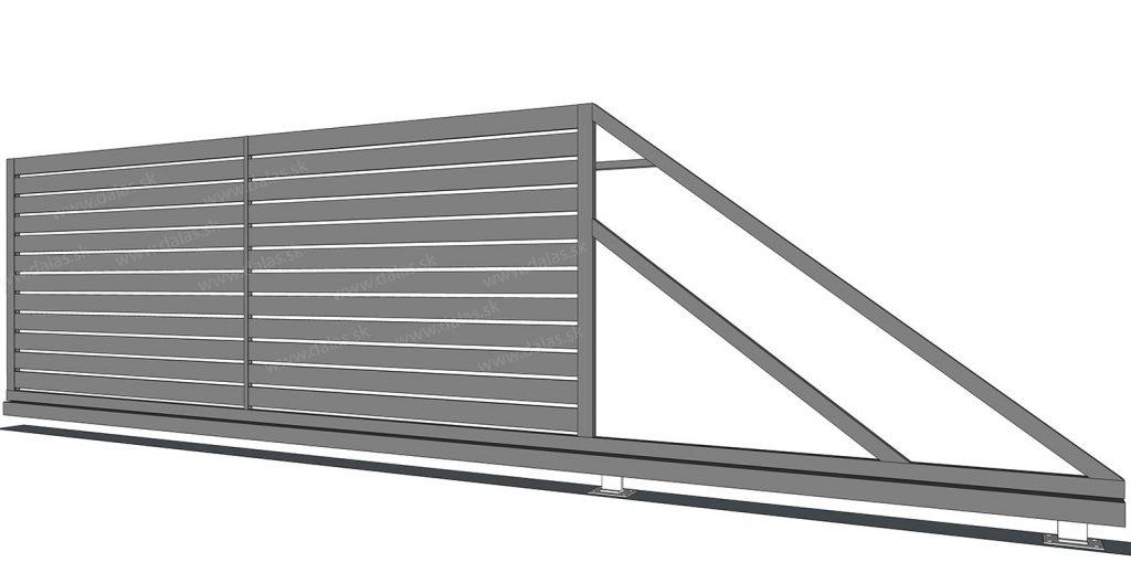 Kovová samonosná brána Plochá 100