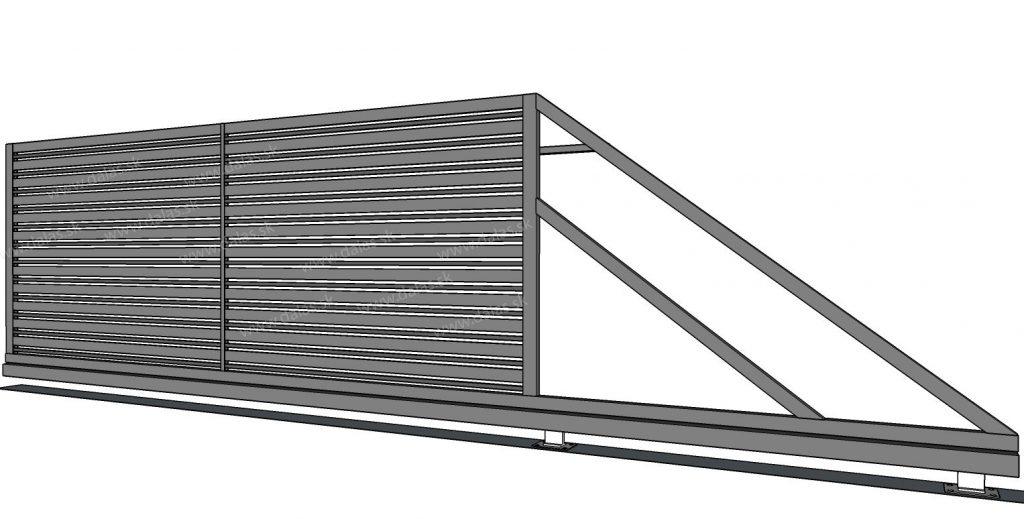 Kovová samonosná brána Plochá Kombi