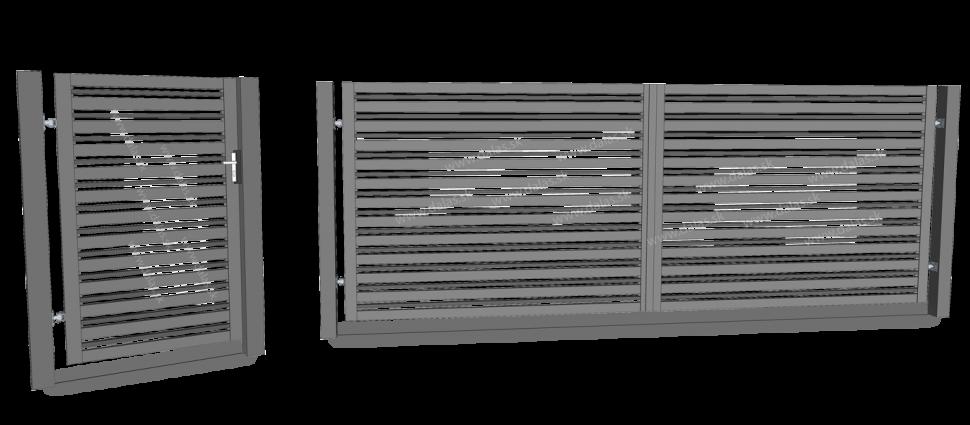 Ukážka kovový plot Plochý akovové stĺpiky