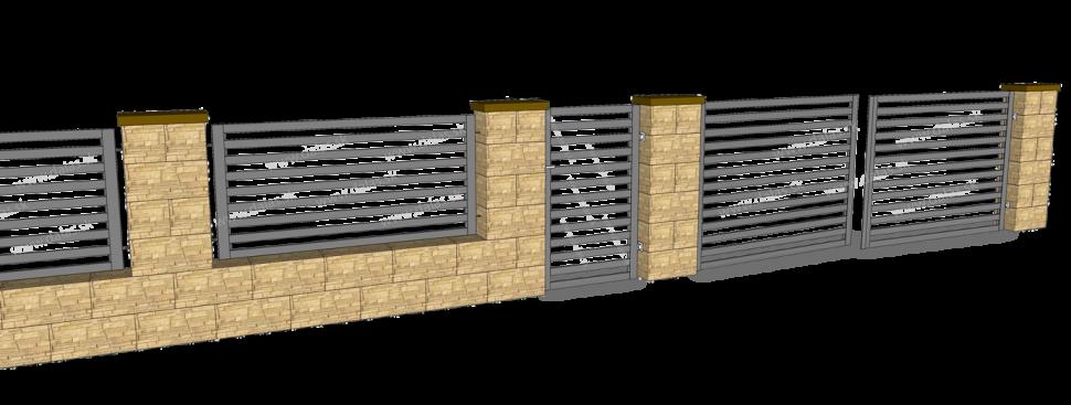 Ukážka kovový plot Plochý aplotový múrik