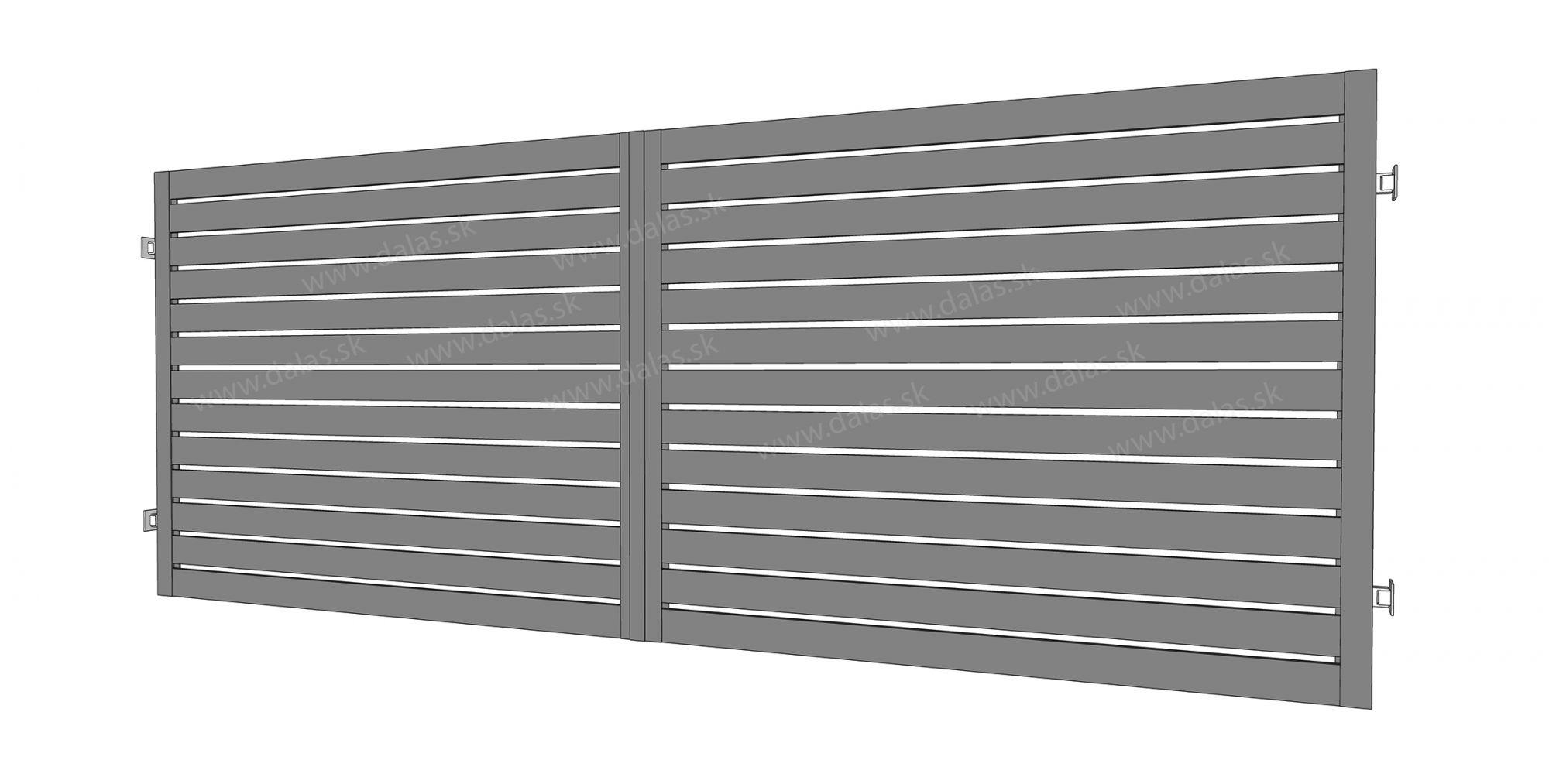 Kovová dvojkrídlová brána prevedenie Plochá 100