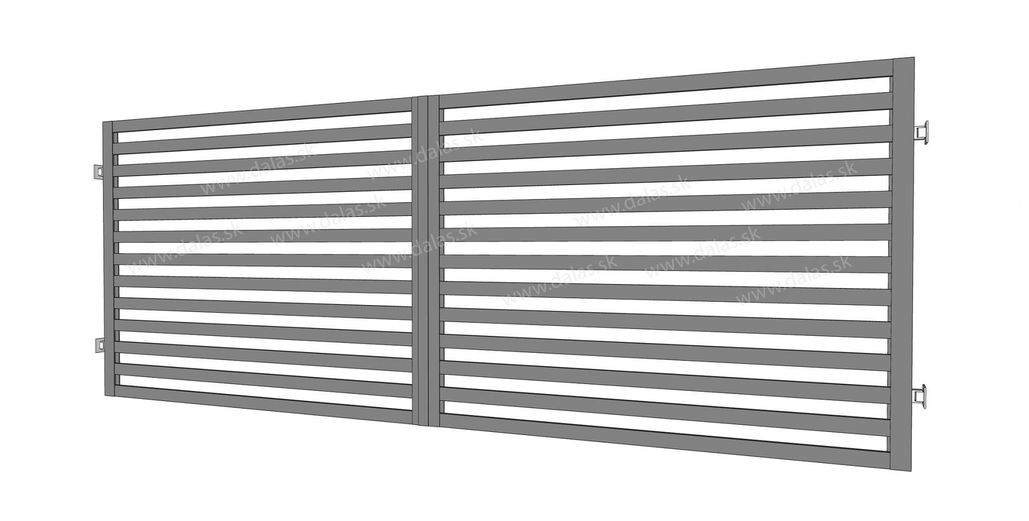 Kovová dvojkrídlová brána prevedenie Plochá 60