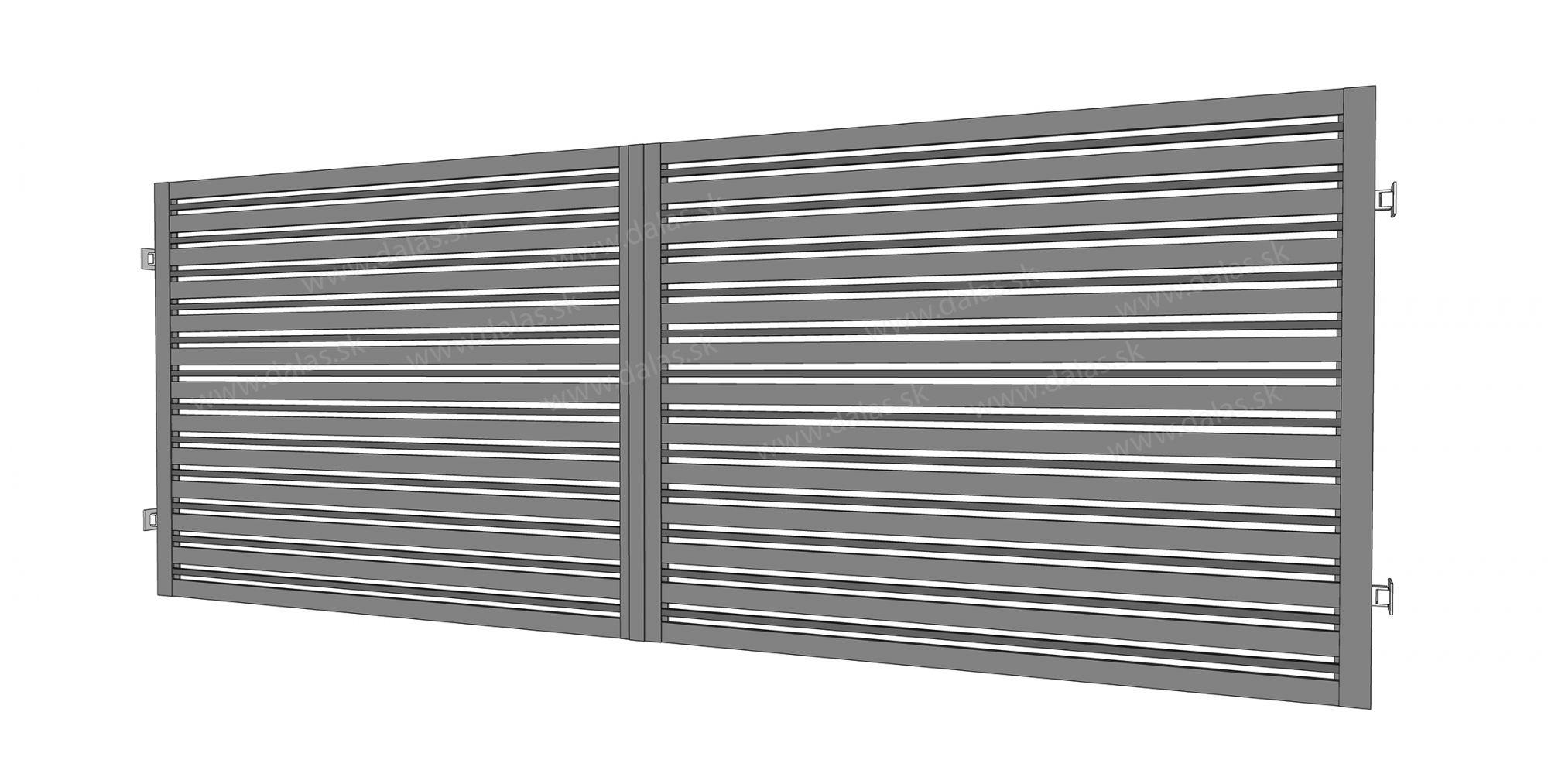 Kovová dvojkrídlová brána prevedenie Plochá Kombi