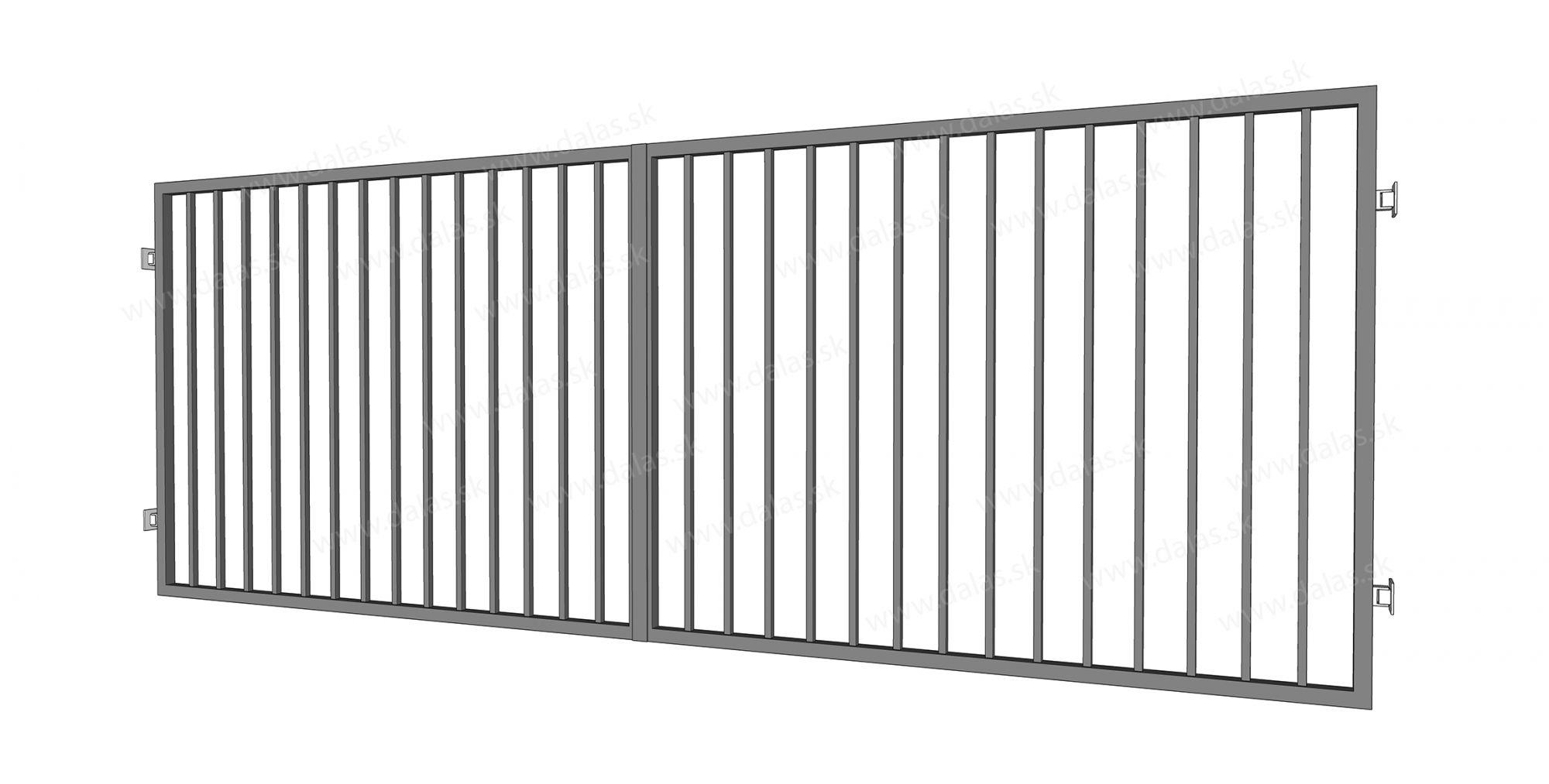 Kovová dvojkrídlová brána prevedenie VERTIKAL