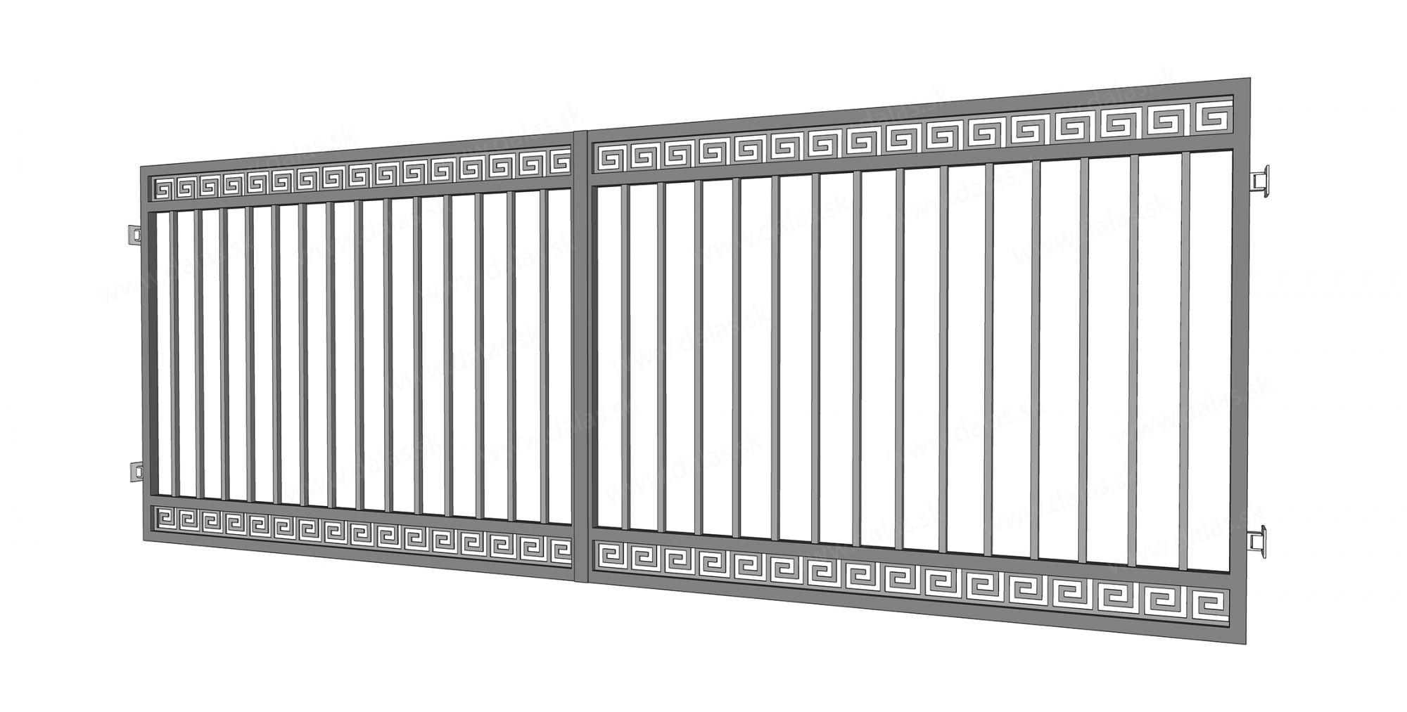 Kovová dvojkrídlová brána prevedenie Grécka