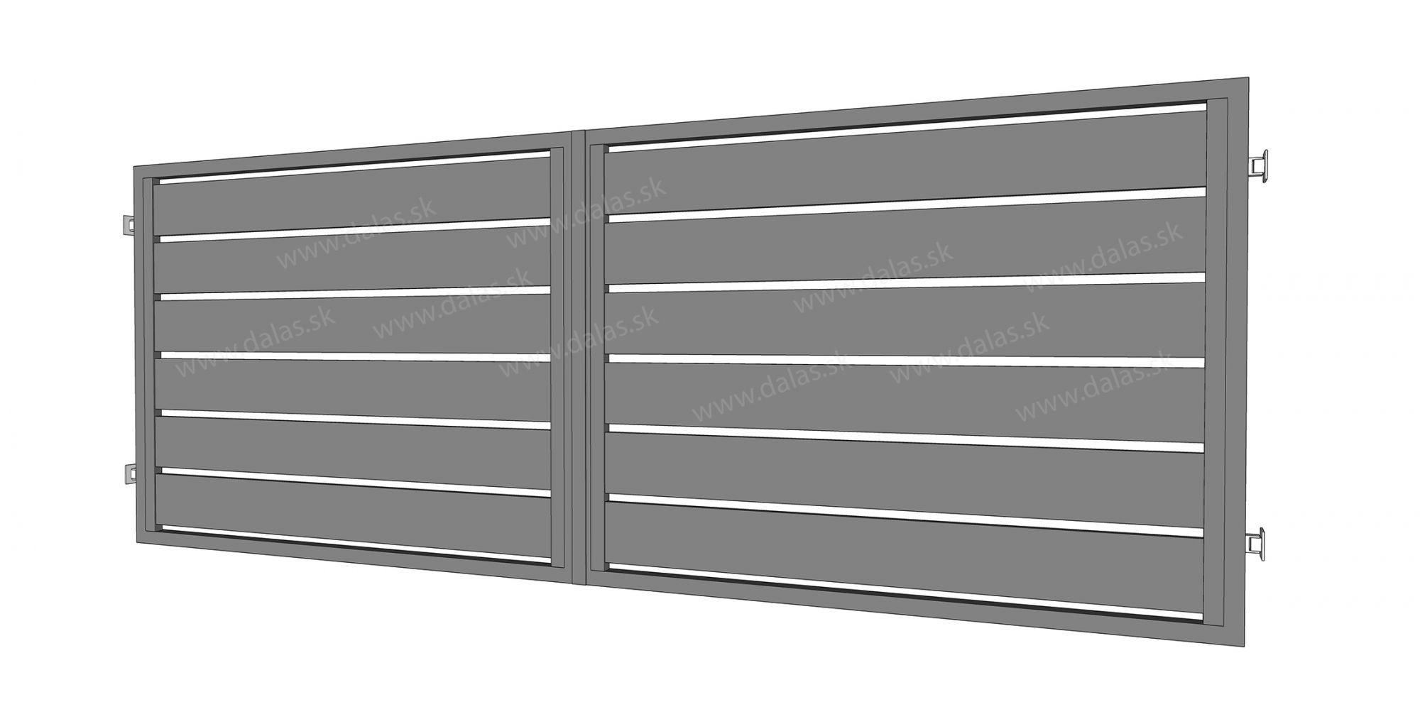 Hliníková dvojkrídlová brána prevedenie AL 200