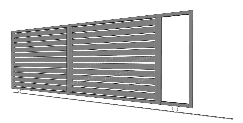 Hliníková koľajová brána prevedenie AL 100