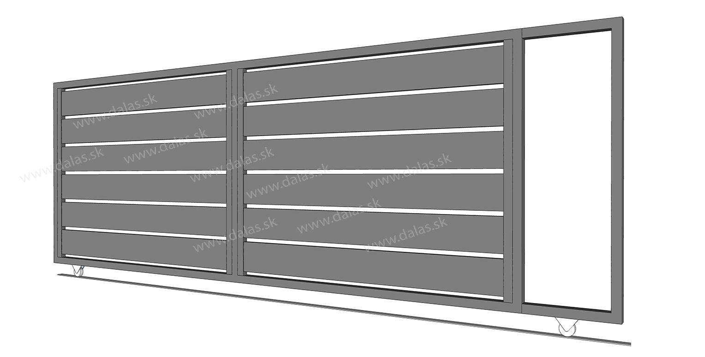 Hliníková koľajová brána prevedenie AL 200
