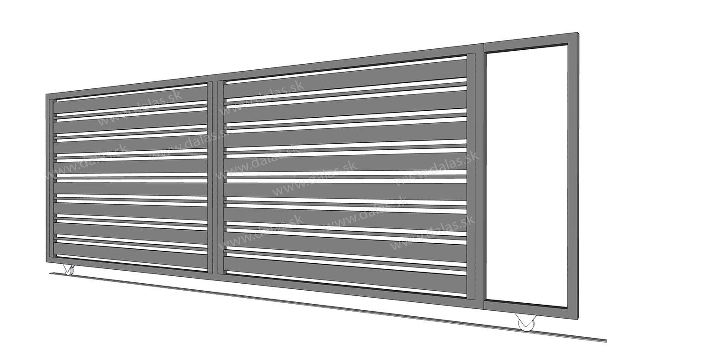 Hliníková koľajová posuvná brána prevedenie AL KOMBI