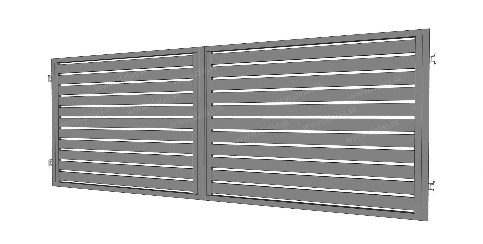 Hliníková dvojkrídlová brána prevedenie AL 100